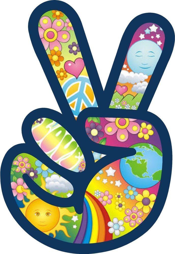 Peace Symbol Sign Flower Power Hippie Love Car Color Decal Sticker