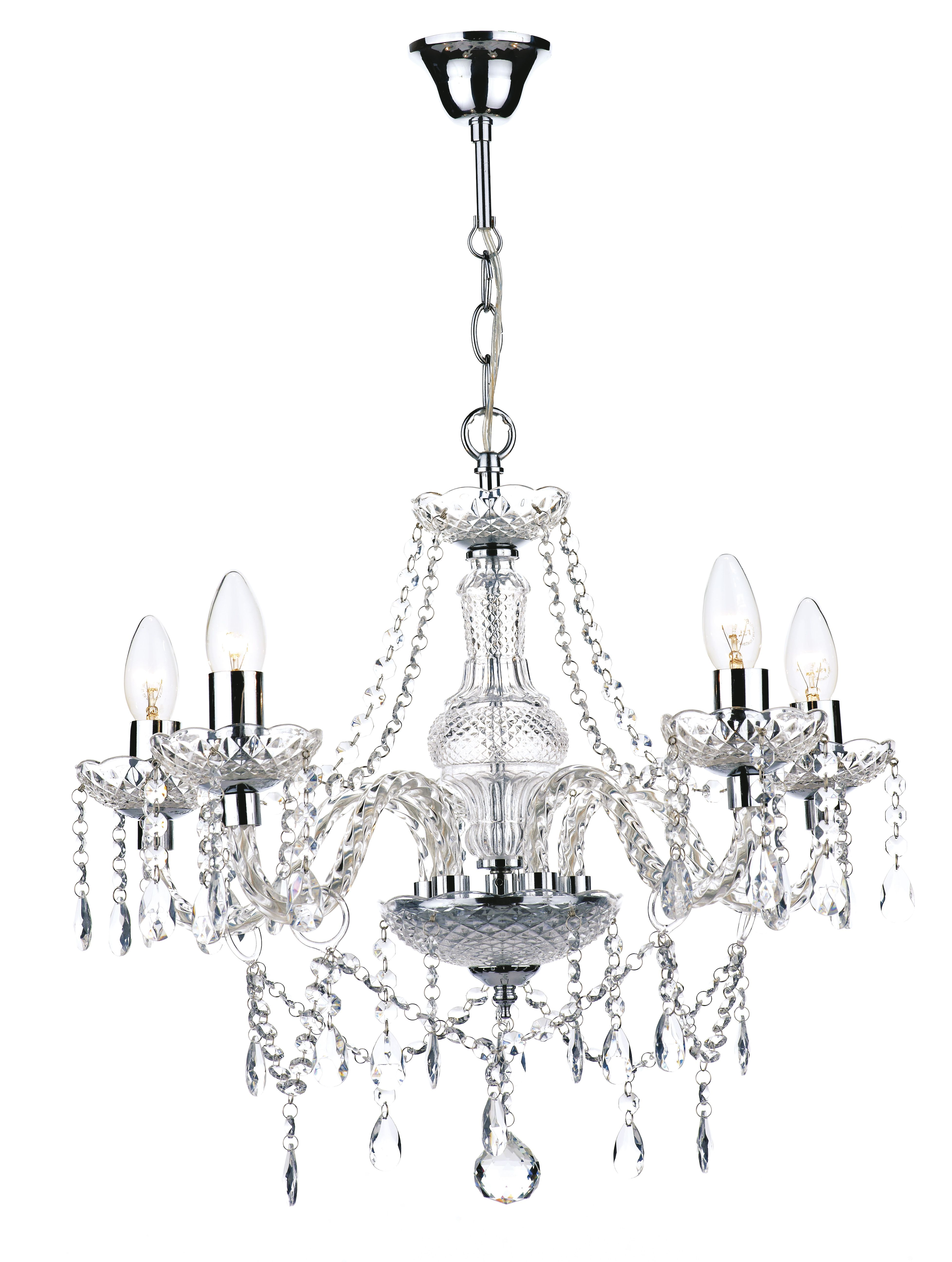 5 light polished chrome crystal chandelier 205 thornhill malone katie 5 light chandelier in polished chrome pear shaped glass drops and bead decoration glass frame and removable glass sconces acrylic arms 5 x candle arubaitofo Choice Image