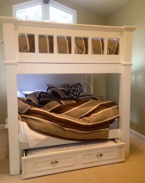 CA King Bunk Bed With Queen Trundle by BorboletaDecors on Etsy
