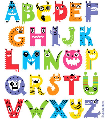 Fun animal cartoon alphabet.  http://www.zazzle.com/alphabet_monsters_poster-228864412148652860