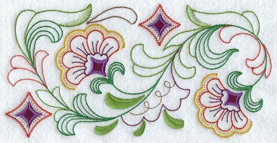 A Quick Stitching Machine Embroidery Design Border Quilling Folk