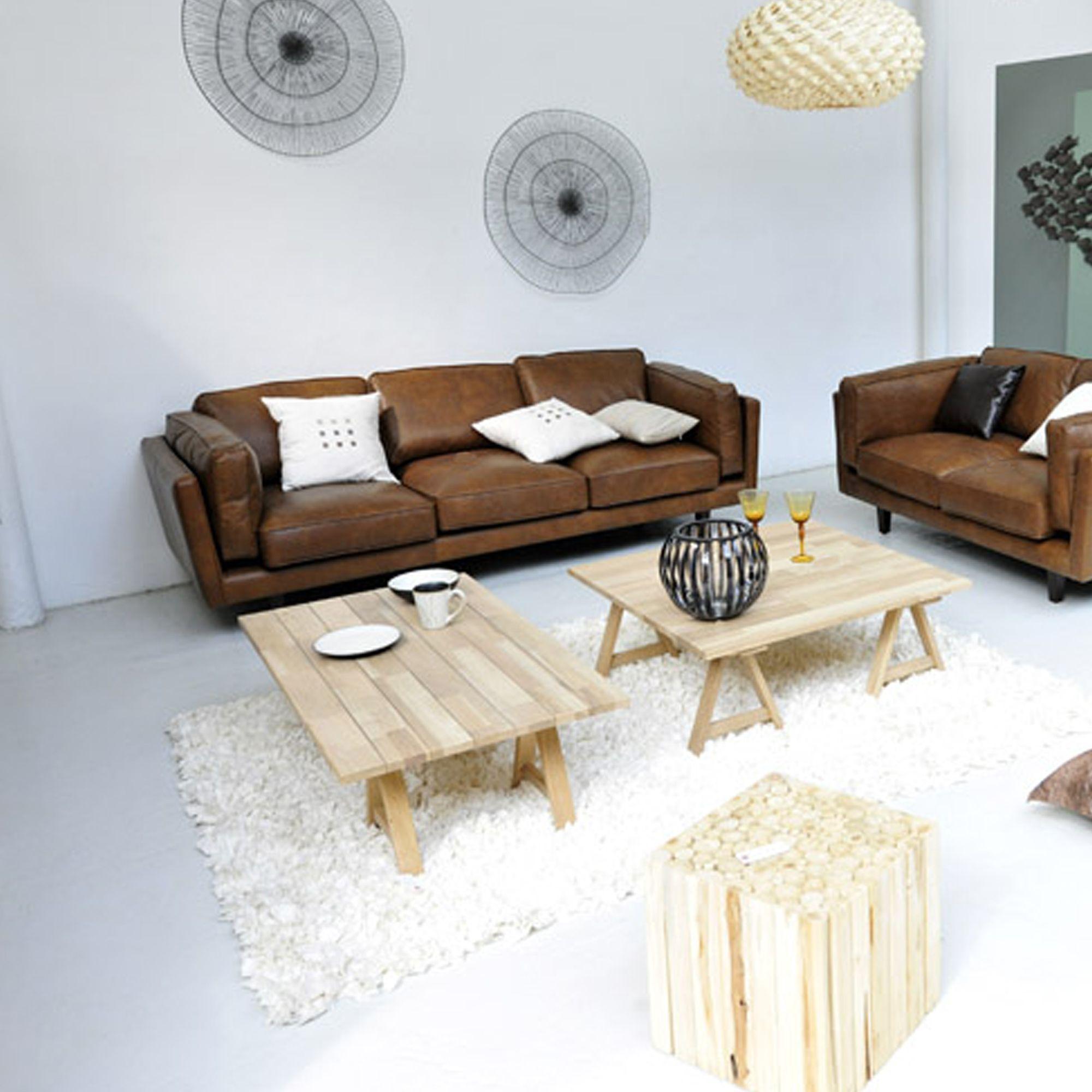 brooklyn salon canap s cuir canap s banquettes canap en cuir vachette 2 places home. Black Bedroom Furniture Sets. Home Design Ideas