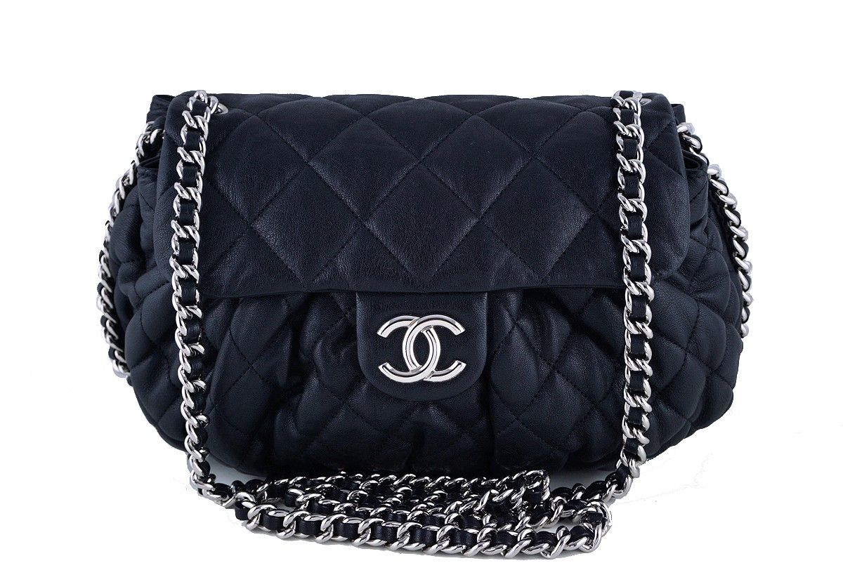 7421aca7fa23 Chanel Black Large Chain Around Rounded Classic Flap Cross Body Bag - On  many Chanel mavens'