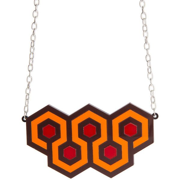 Overlook Hotel necklace laser cut acrylic (€24) ❤ liked on Polyvore featuring jewelry, necklaces, laser cut necklace, chunky jewelry, acrylic jewelry, lucite necklace and chains jewelry