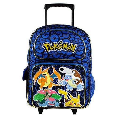 "Pokemon 16/"" Large Rolling Backpack Boy Rolling Bag Pikachu NEW Style"