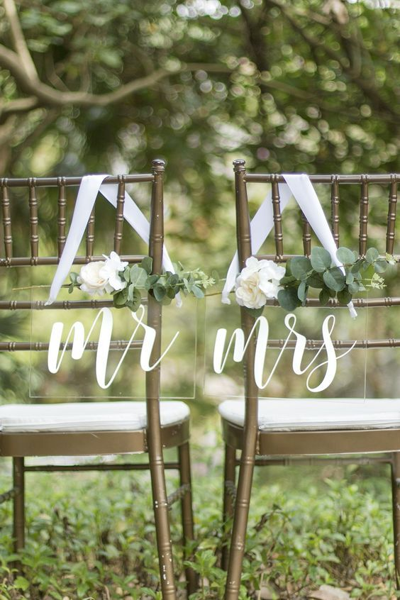 Wedding chair signs are beautiful and unique choice for your wedding chair decor, table decor, or even for your wedding photos. After your wedding, display these in your home !
