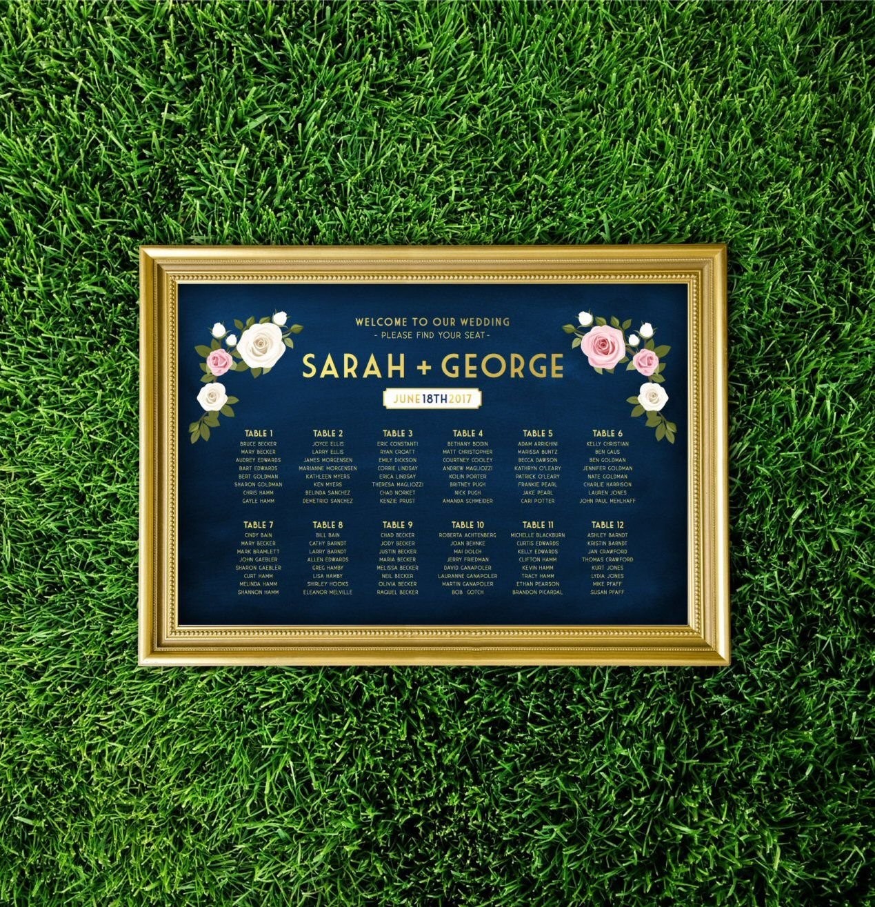 Simple way to seat guests using a print, seating chart, and shimmery gold frame.