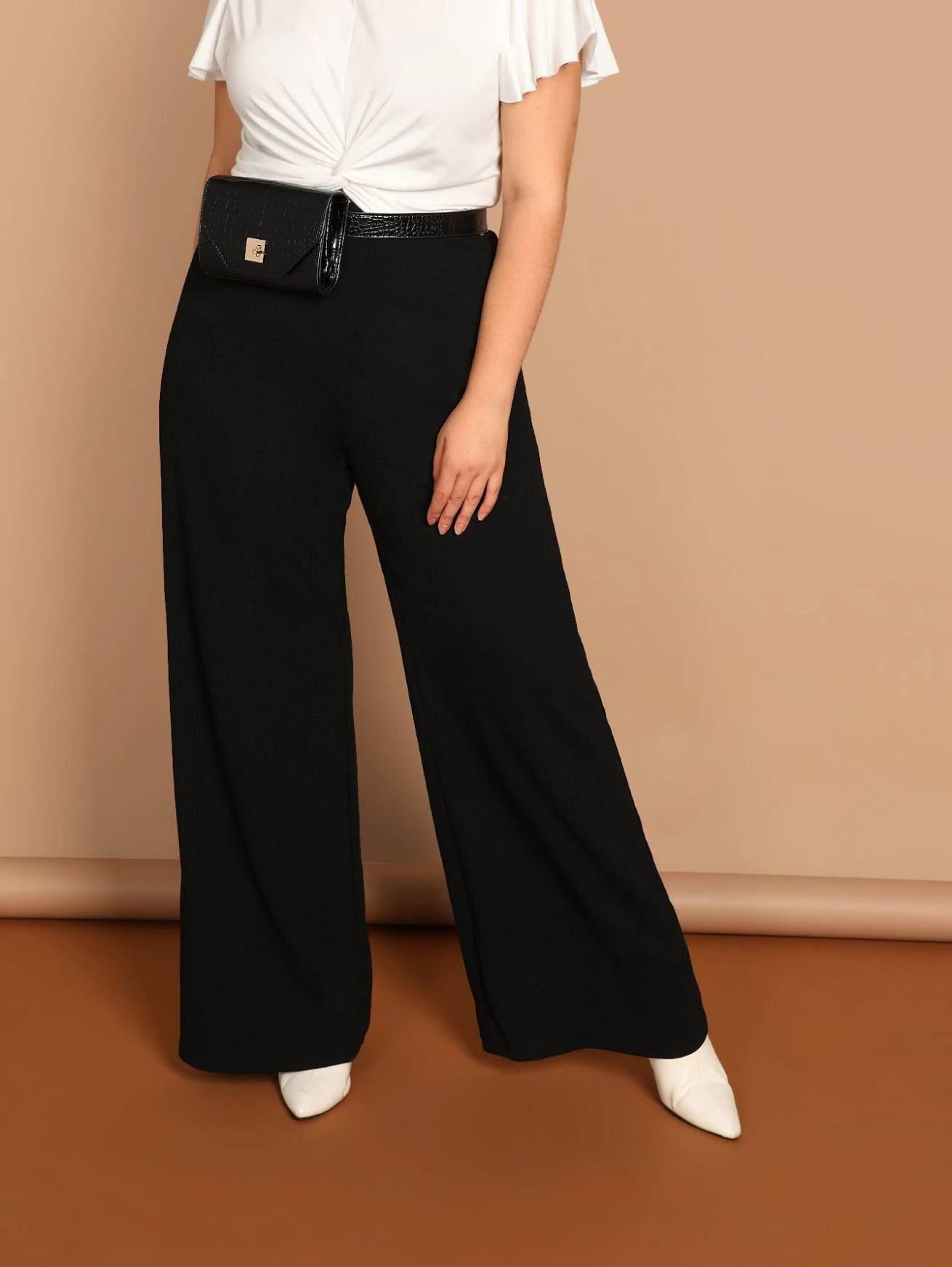 35cdc0aaae Plus Solid Wide Leg Pants in 2019   Loose blouse / pants / Dress ...