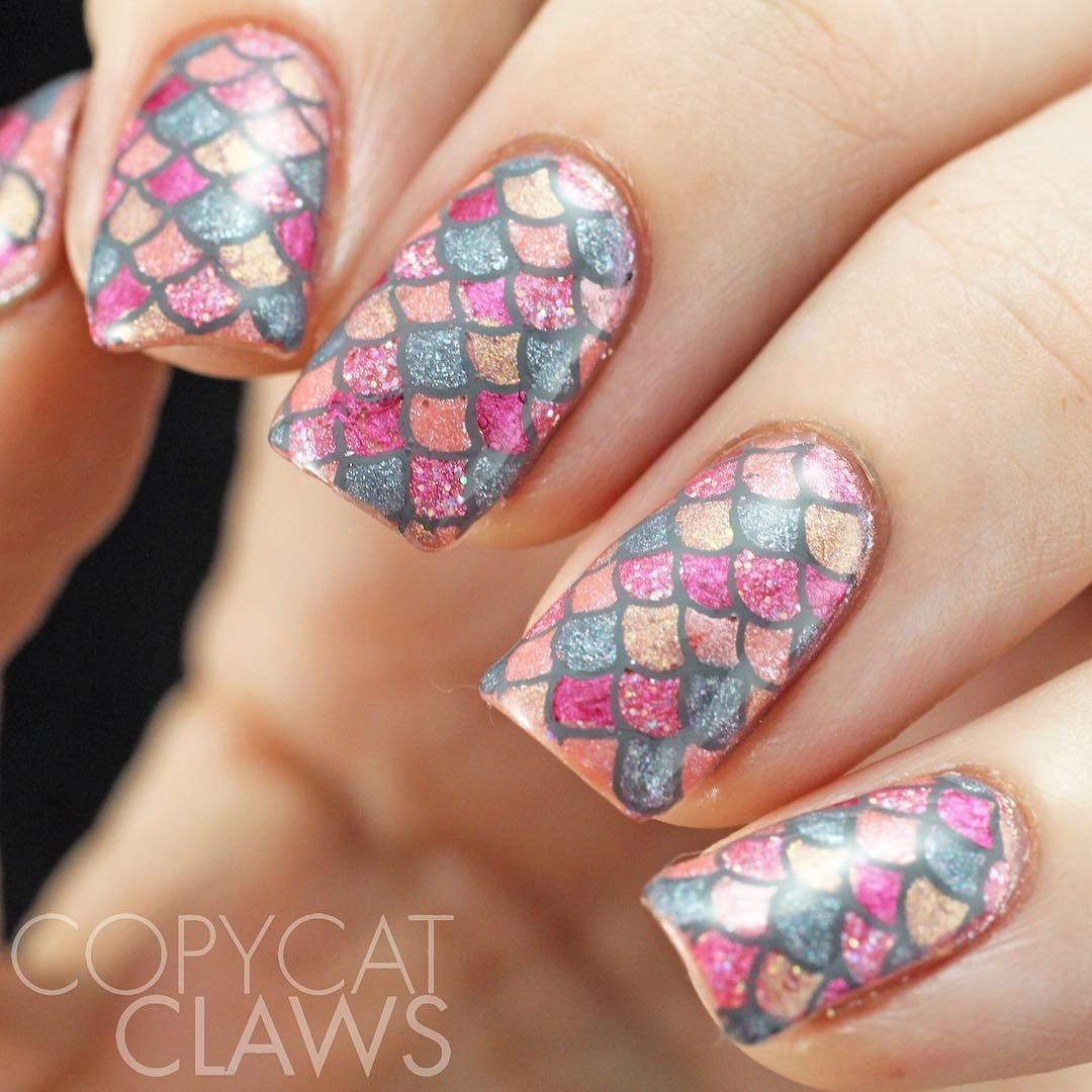 Glittery Pink Gold and Grey Mermaid Inspired Nails  Nails