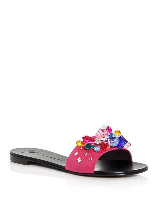 Giuseppe Zanotti Women's Embellished Suede Slide Sandals ASByL