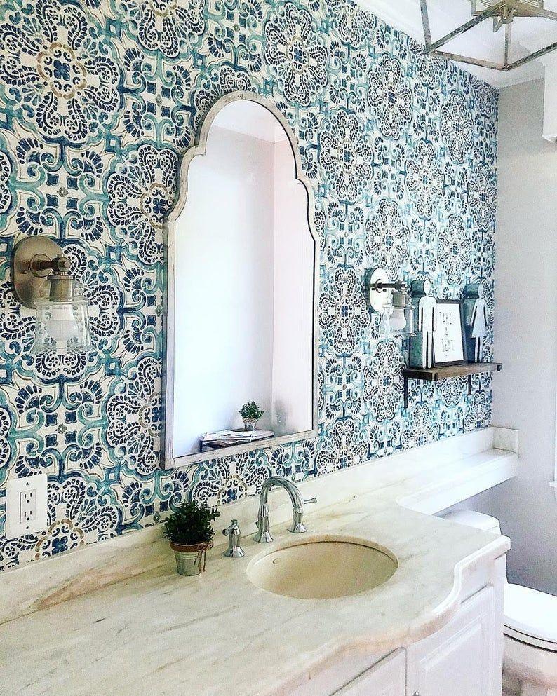 Peel And Stick Vintage Chic Blue Florentine Medallion Tile Etsy Bathroom Wallpaper Inspiration Tile Wallpaper Temporary Wallpaper