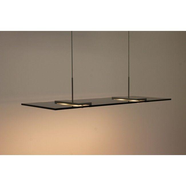 Strakke rechthoekige glasplaat hanglamp VIRTUAL LED zwart | 80 x 30 ...