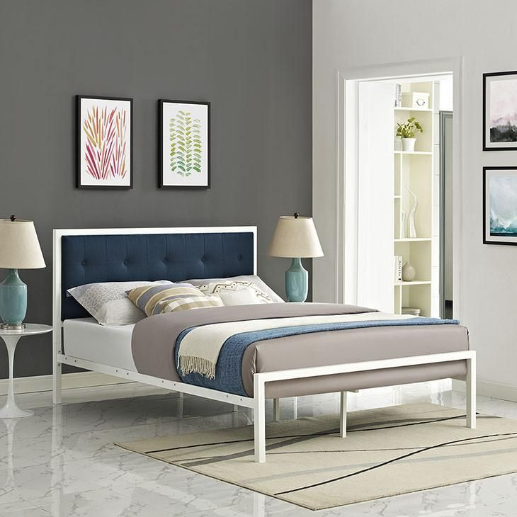 Dottie King Fabric Bed White Bed Frame Fabric Bed