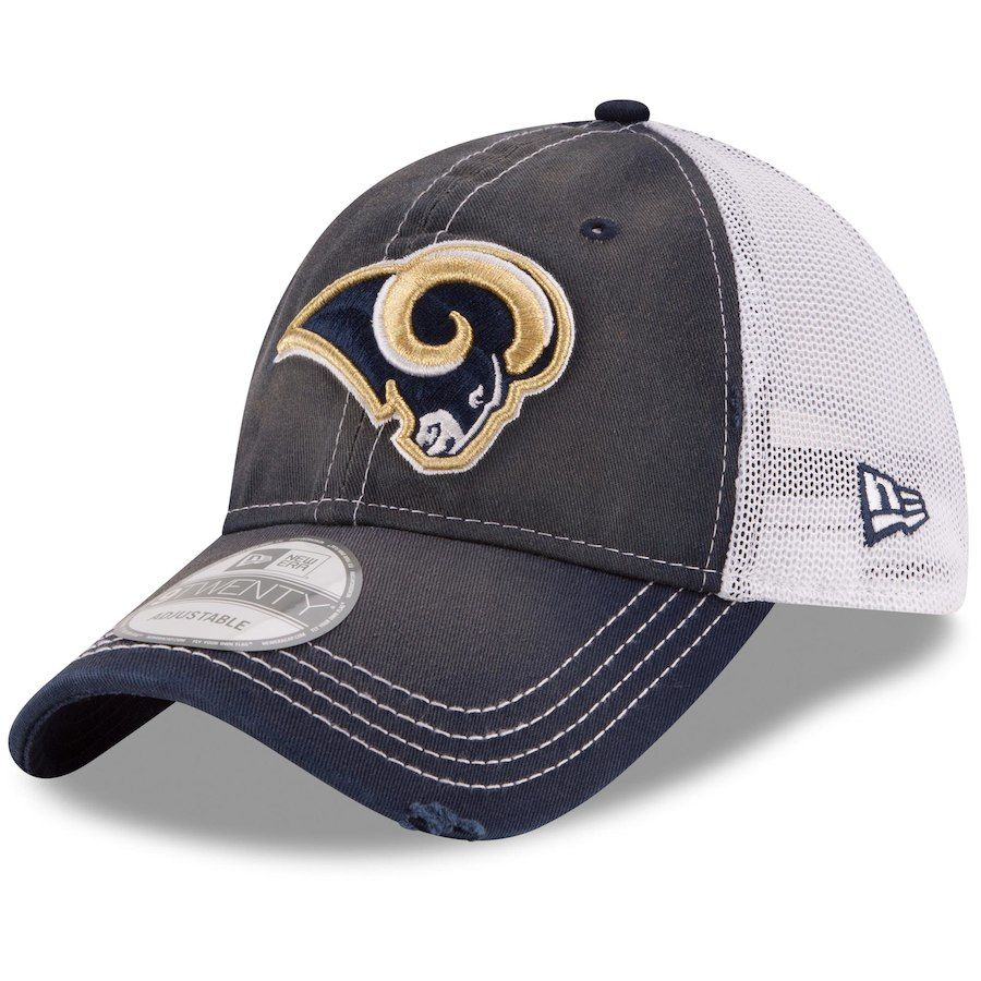 4abcf6ddbb018 Men s Los Angeles Rams New Era Navy White Prime 9TWENTY Adjustable ...