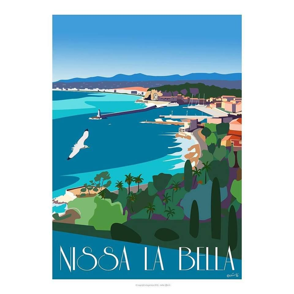 Nice nissa la bella affiche minimaliste artiste for Galerie art minimaliste