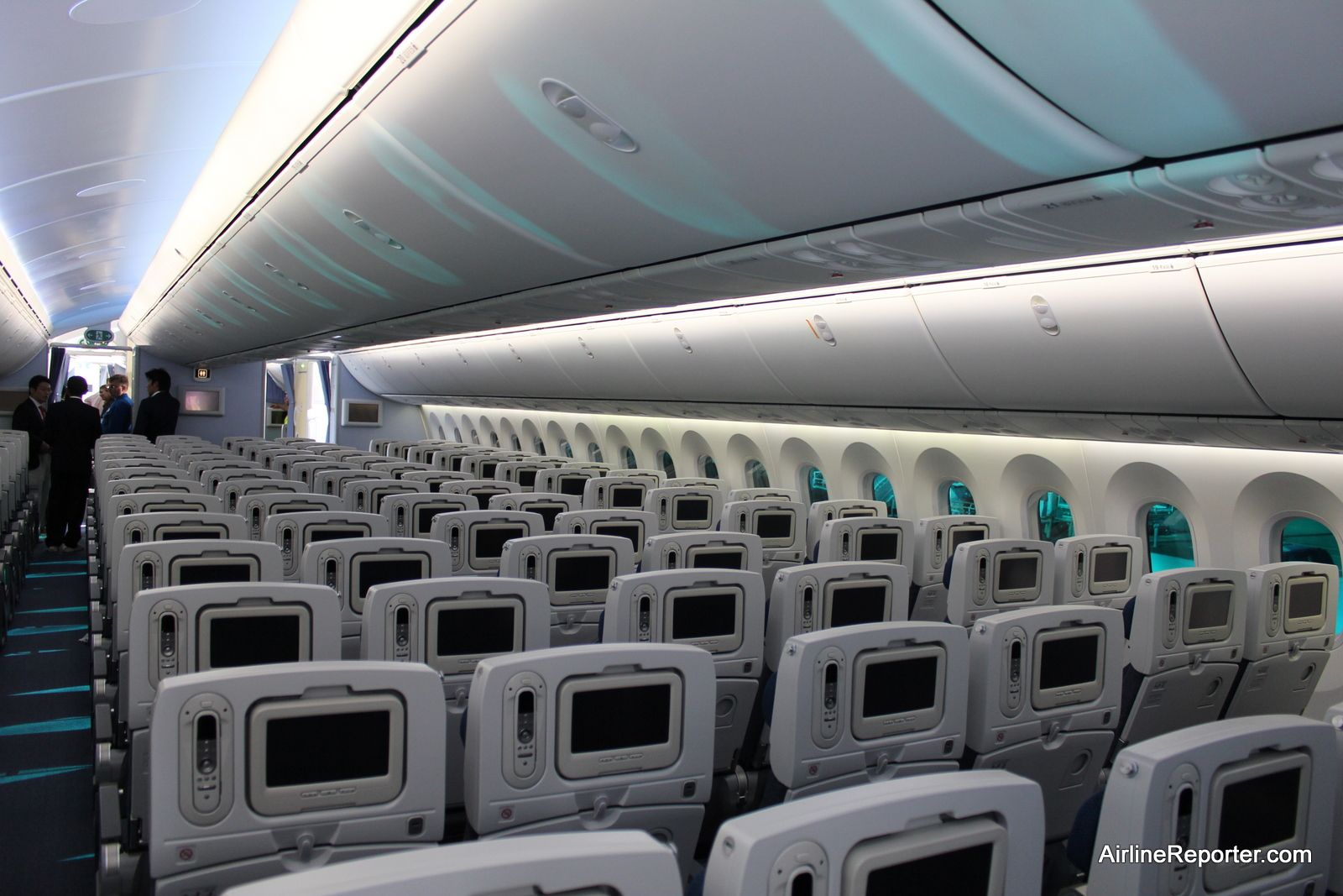 interior of a boeing 797 passenger plane the tinted windows on the boeing 787 dreamliner makes