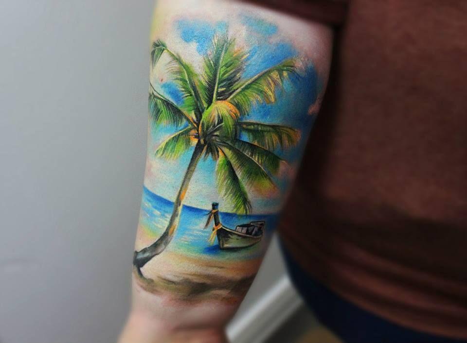 16 perfect beach tattoos for summer tadam pinterest tattoo ideen palmen tattoos und ideen. Black Bedroom Furniture Sets. Home Design Ideas