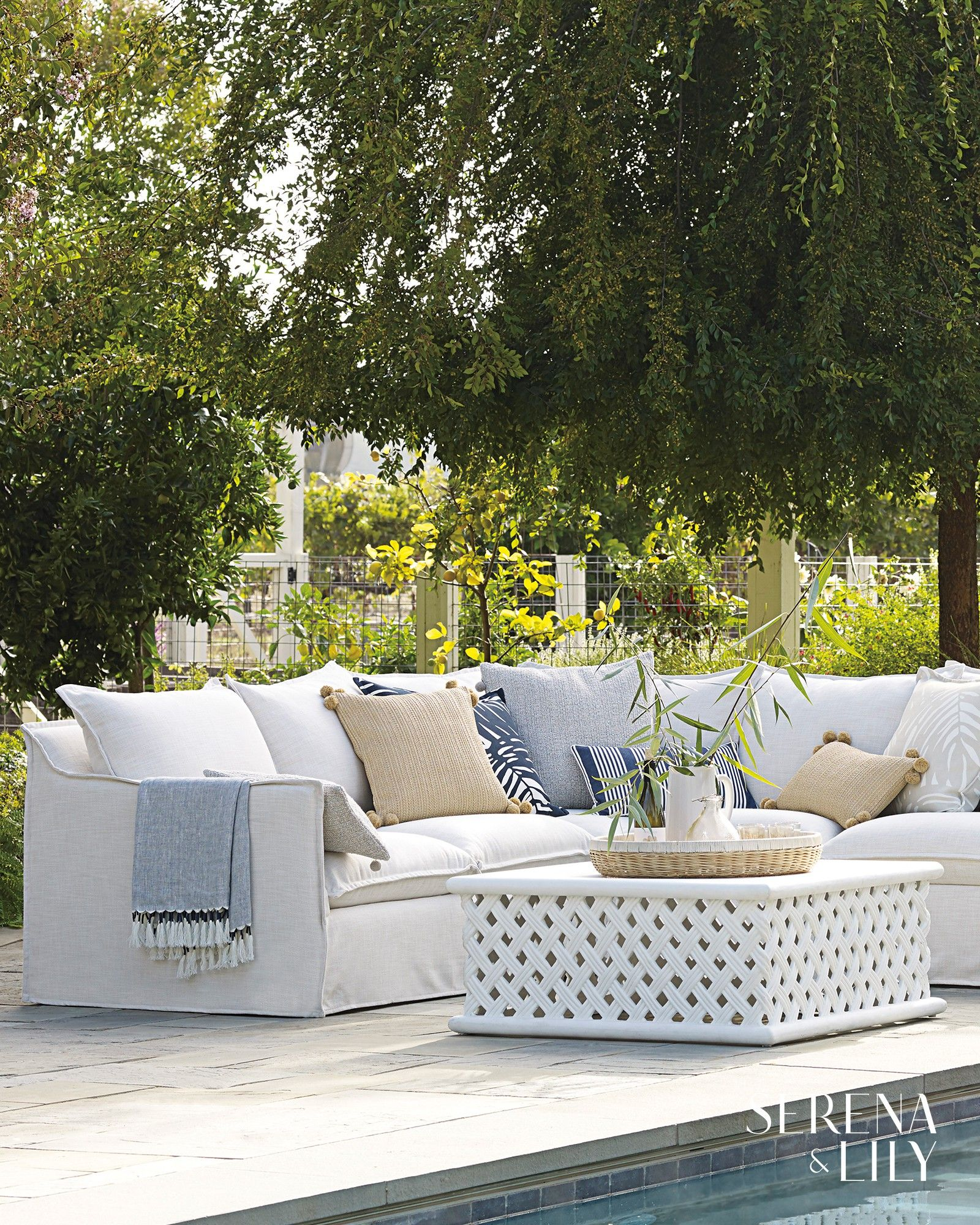 Perfect Both Poolside And On The Patio This White Outdoor Coffee Table Is Made Of Garden Furniture Design Used Outdoor Furniture Garden Furniture Inspiration