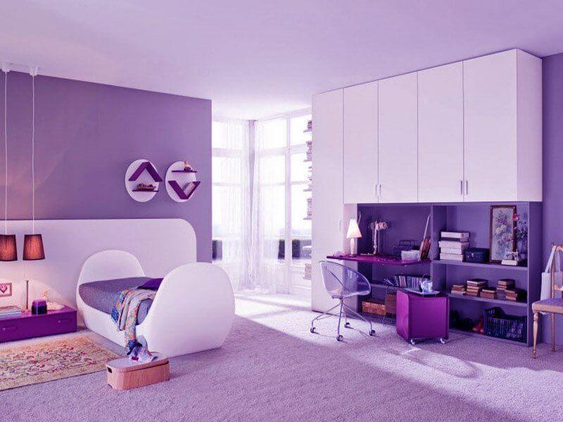 Teenage Girl Bedroom Furniture With Purple Colour Girls Bedroom