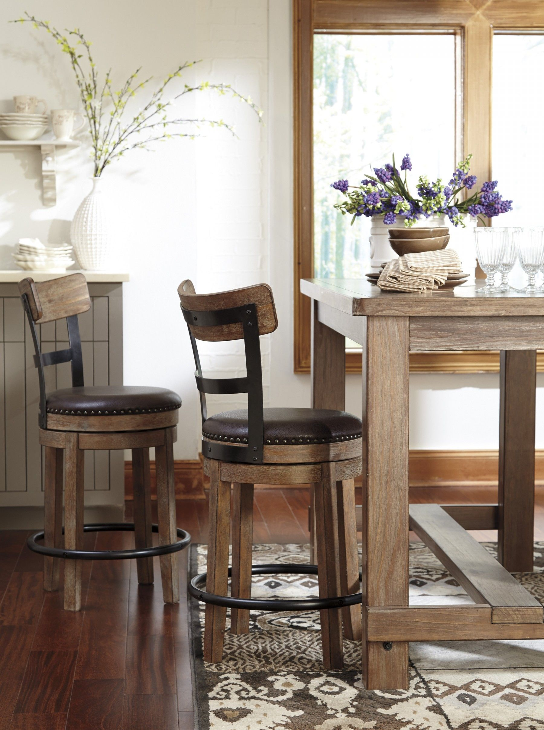 D542 13 Pinnadel Light Brown RECT Dining Room Counter Table