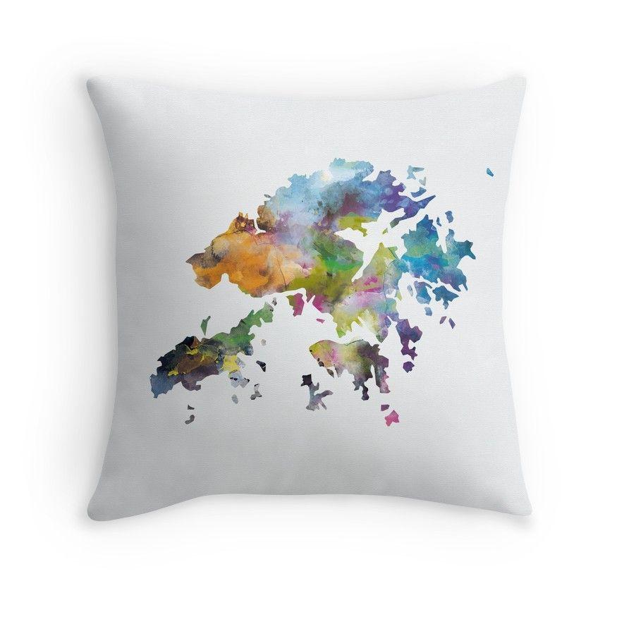 'Hong Kong Map' Throw Pillow By MonnPrint