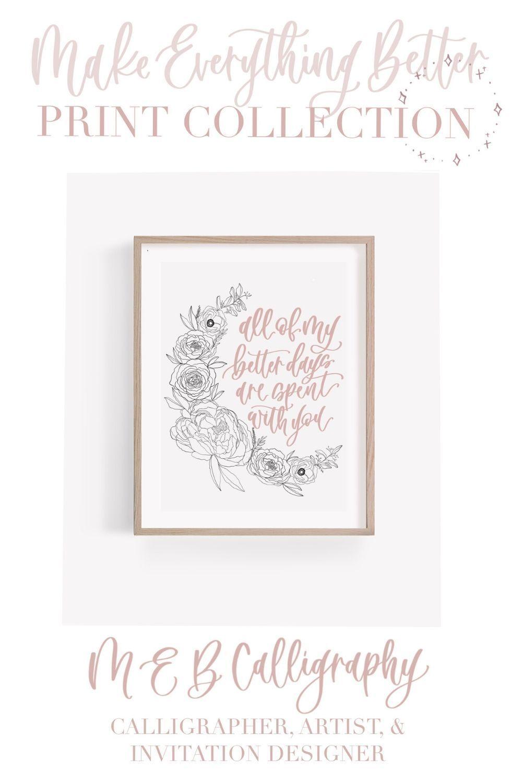 Photo of Flower calligraphy art print