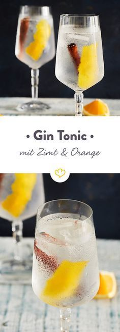 Photo of Gin and tonic with cinnamon and orange