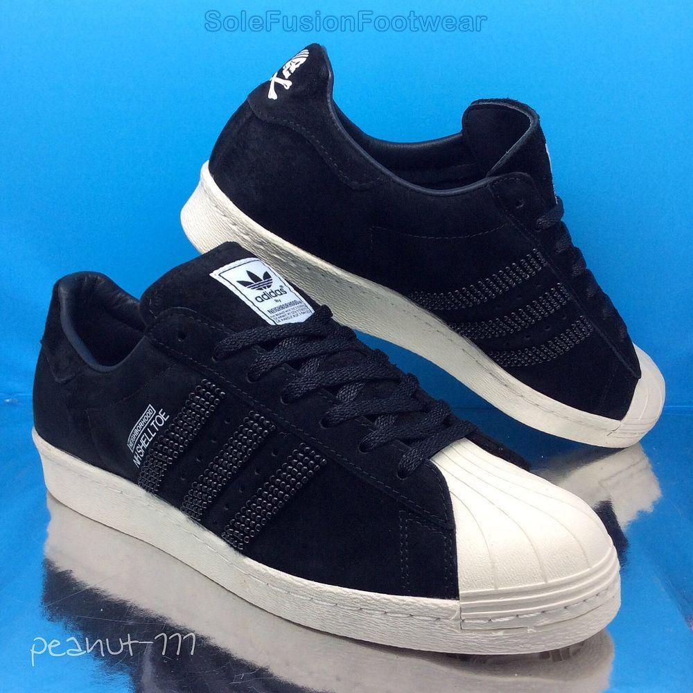 adidas originali mens superstar formatori black sz ltd