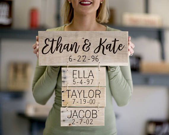 Mothers Day Gift | Family Names Wood Sign | Personalized Family Name Signs | Anniversary Gift | Family Established Sign