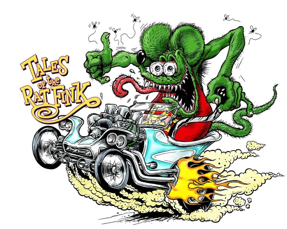 10pcs Rat Fink Stickers Ed Roth Big Daddy Graffiti Wall Hot Rods Vinyl Decal