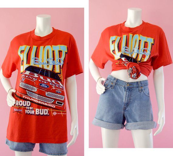 01cf92d31 Vintage NASCAR Racing T-shirt, 90s Bill Elliot Spell Out Shirt, Bright  Colors Ford Racing Graphic Tee, 90s Budweiser Beer Shirt, Men's Large