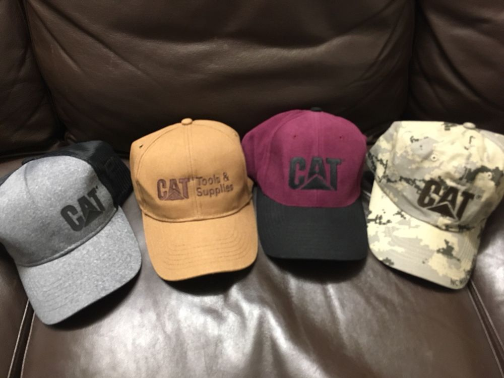 Lot Of 4 Authentic CAT Caterpillar Bulldozers Tools Hat Cap Strap Snap Back   fashion  clothing  shoes  accessories  mensaccessories  hats 5ecd5b6d956f