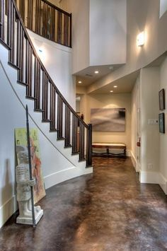 gray stained concrete matte finish flooring |  flooring