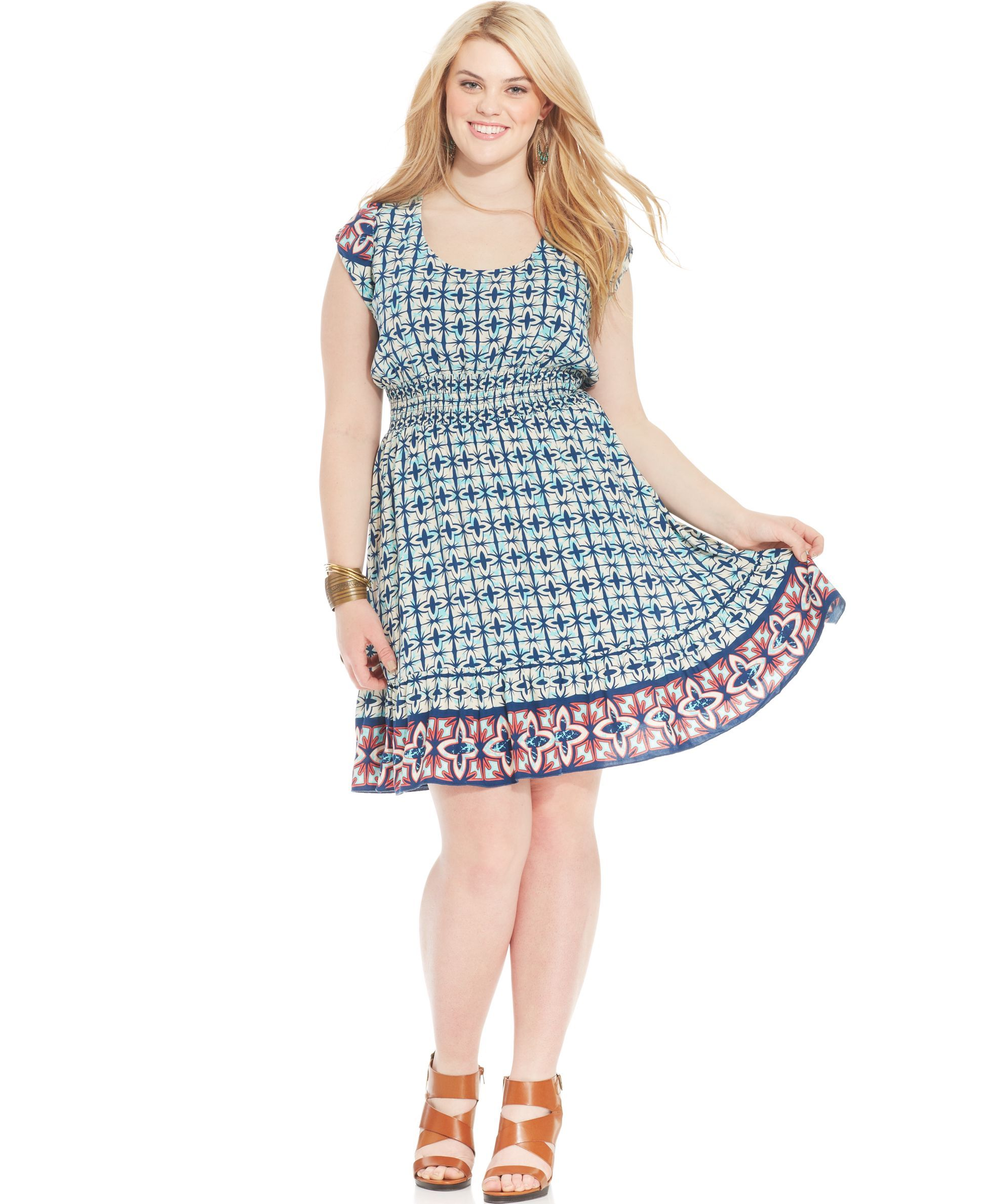 American Rag Plus Size Cap-Sleeve Gro-Print Flare Dress