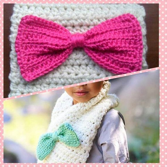 Cute as a Bow Scarf Toddler Scarf Cream/Winter White with Pink Bow ...