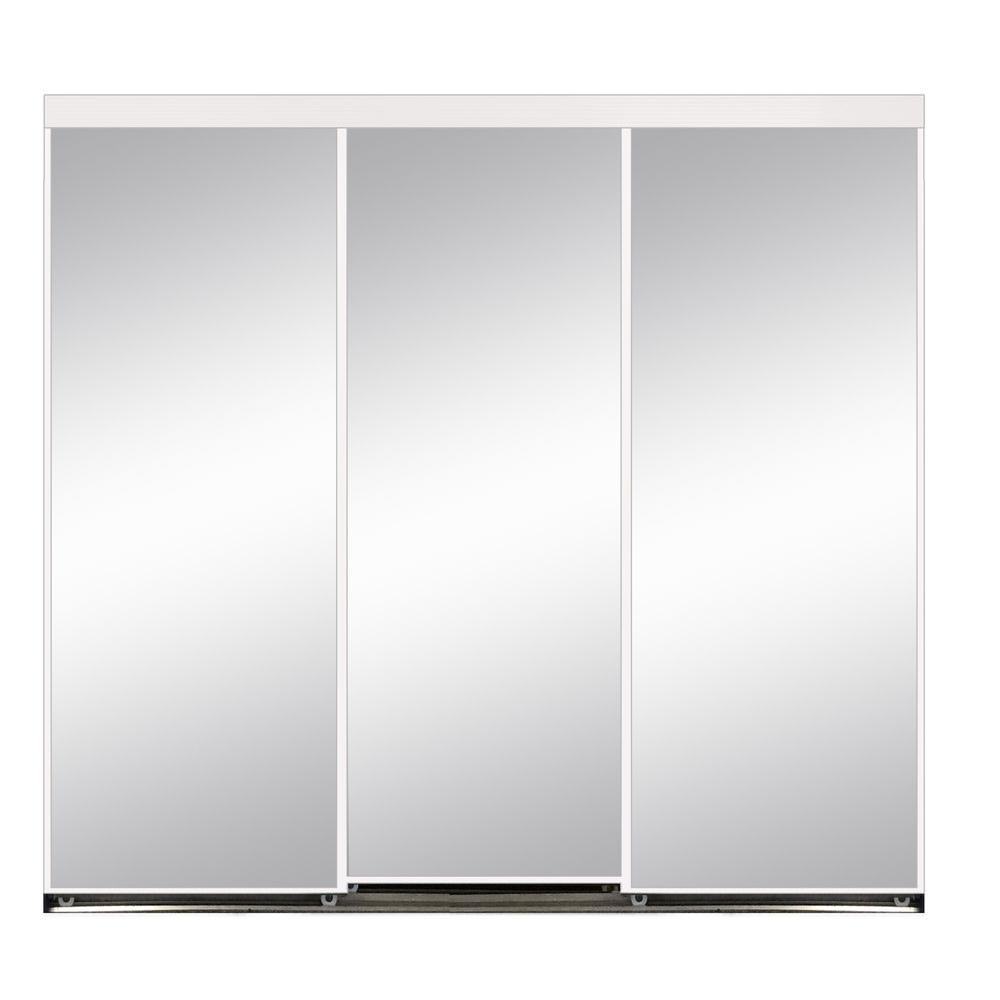 108 In X 80 In Polished Edge Mirror Gasket Framed Aluminum Interior Closet Sliding Door With White Trim S293 10880w The Home Depot Sliding Mirror Closet Doors Sliding Doors Sliding Doors Interior