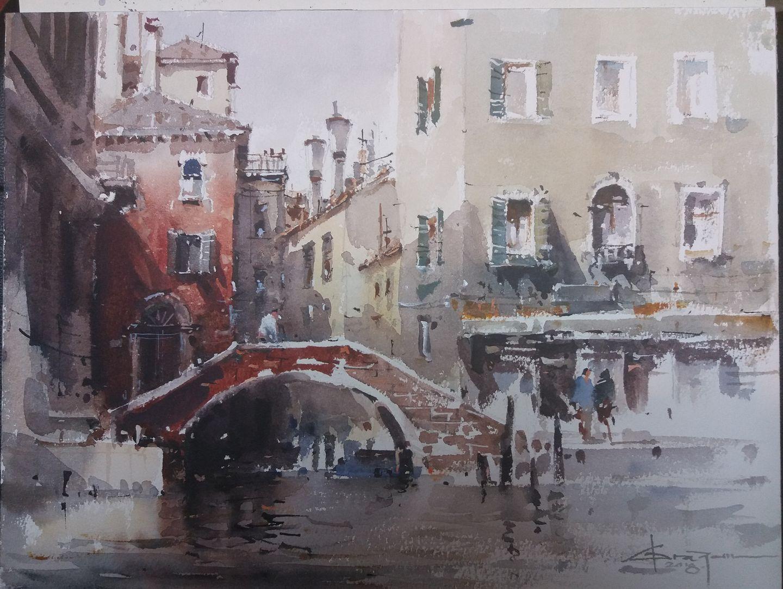 Corneliu Dragan Targoviste Aquarelle Venise Peinture