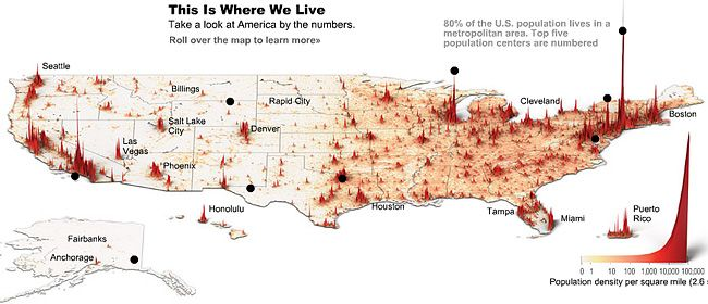 Usa Population Density Map 3d View Maps Globes Cartography