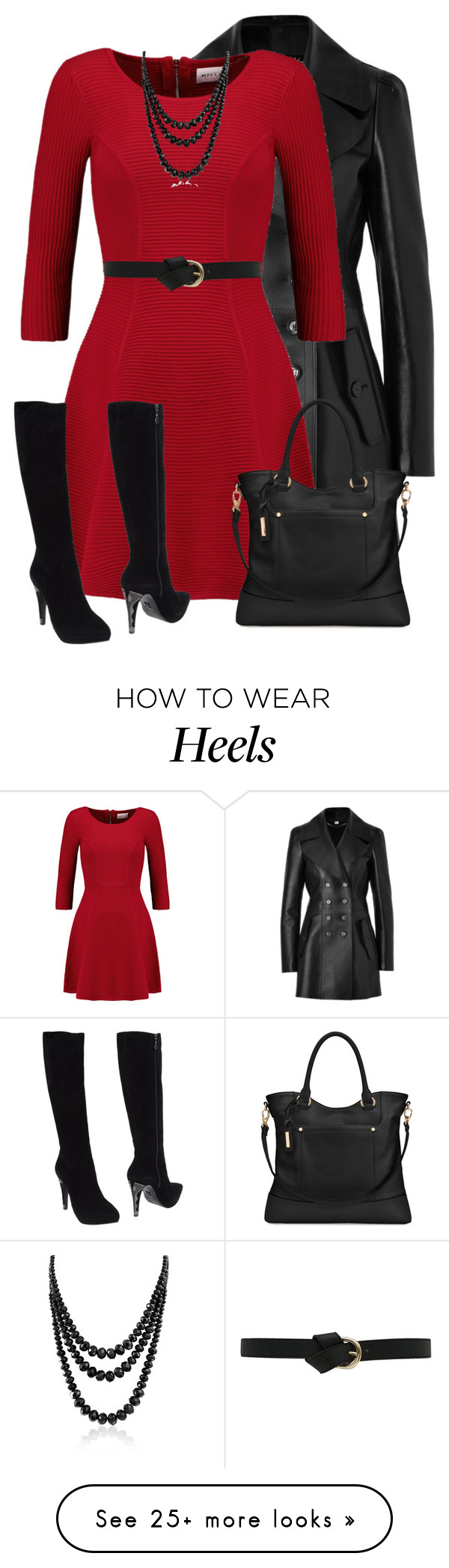 """Red Dress for Fall"" with Black // by daiscat on Polyvore featuring Burberry, Milly, Tignanello, Fabi and Bling Jewelry"