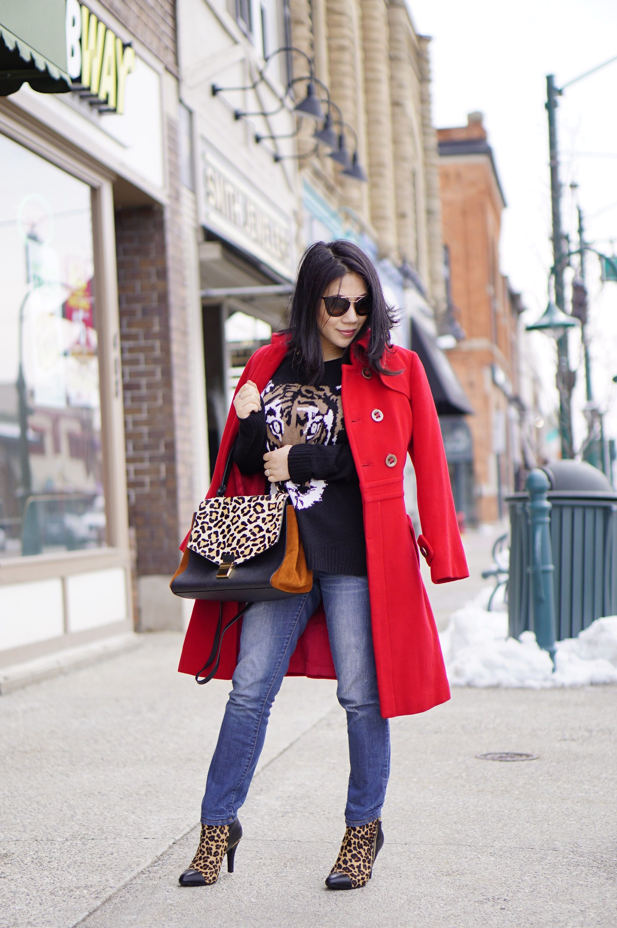 Petite winter fashion street style red  coat + BCBG tiger sweater + soft leopard print booties+ Badgley  Mischka  leopard bag