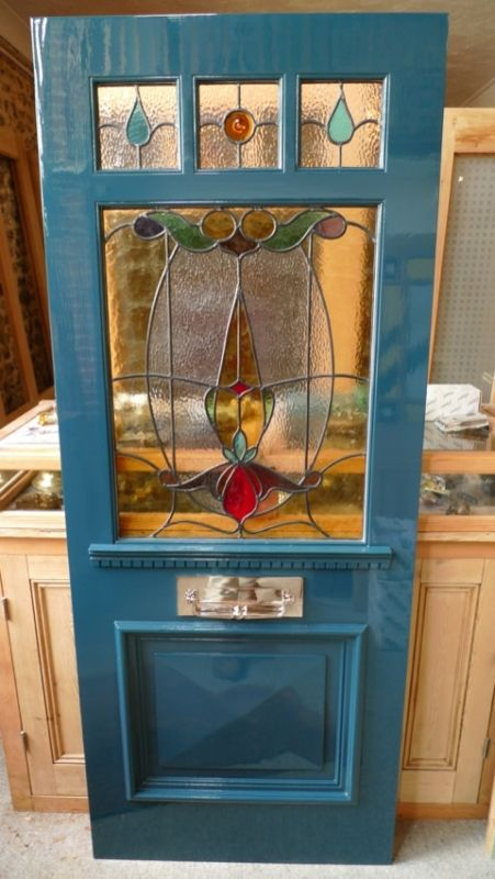Art Nouveau Three Over One Panel Stained Glass Front Door Stained