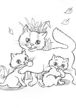 Раскраска Кошка с двумя котятами, скачать и распечатать ...