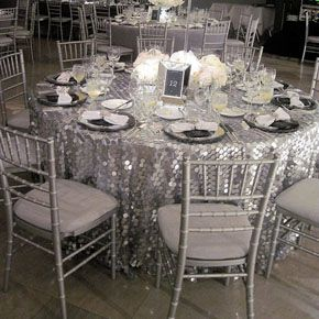Silver Sparkle Table Cloth Sequin Glitter Glamour