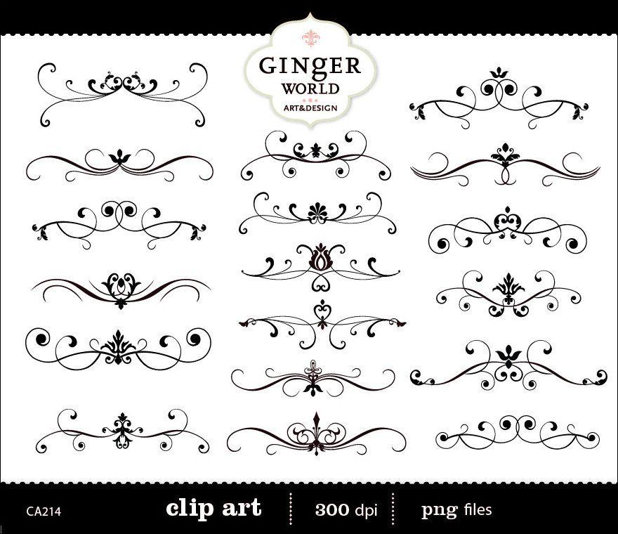 Flourish Clip Art Swirl vintage Border Calligraphy digital - free invitation clipart