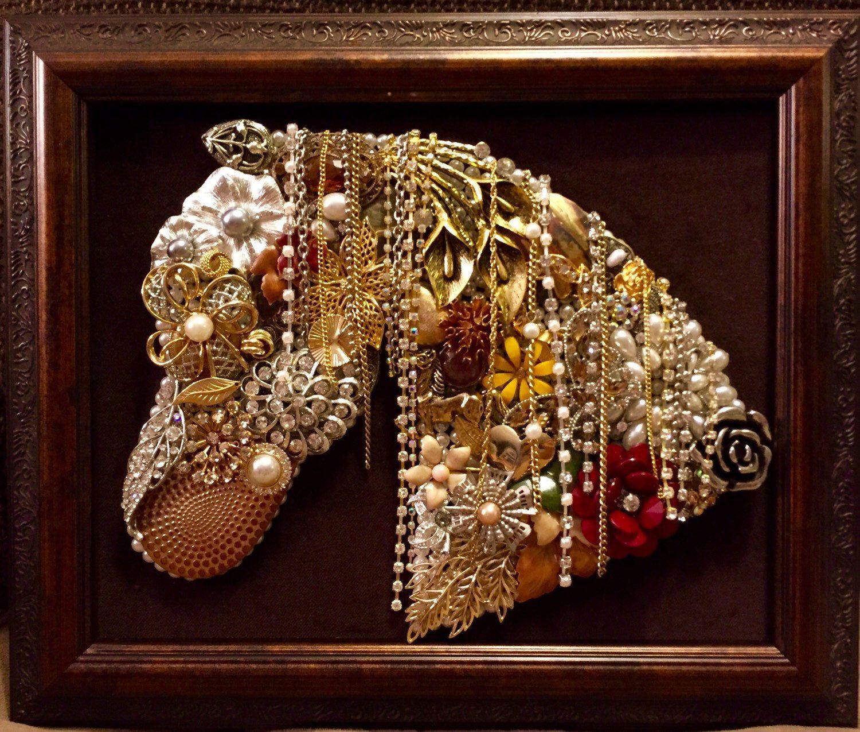 Beautiful Vintage Jewelry Framed Art Handmade Horse