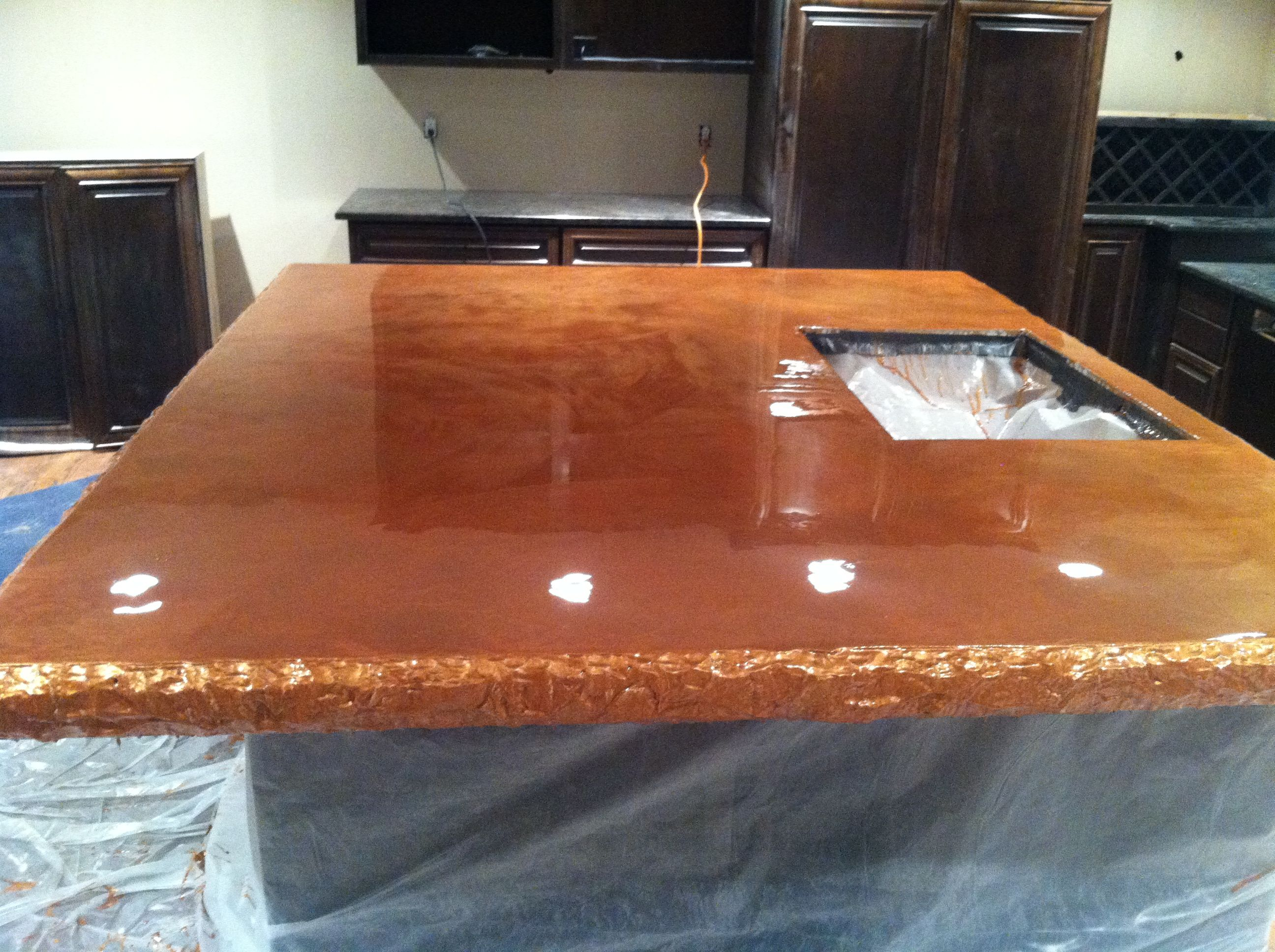 Fiber Optic Countertop Kitchen Island Top Concrete Countertop With Metallic