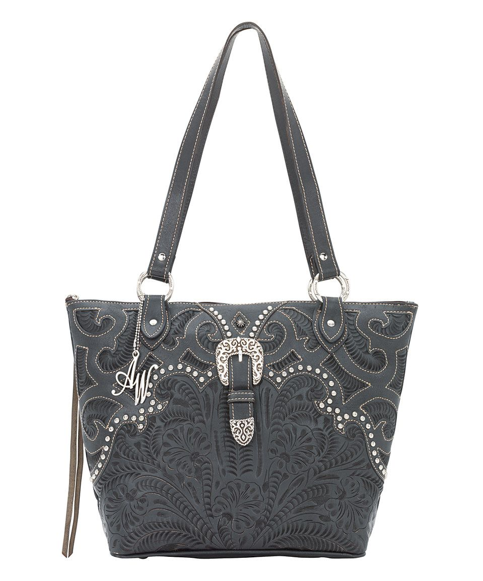 Love this American West Steel Blue Mystic River Leather Tote by American West on #zulily! #zulilyfinds
