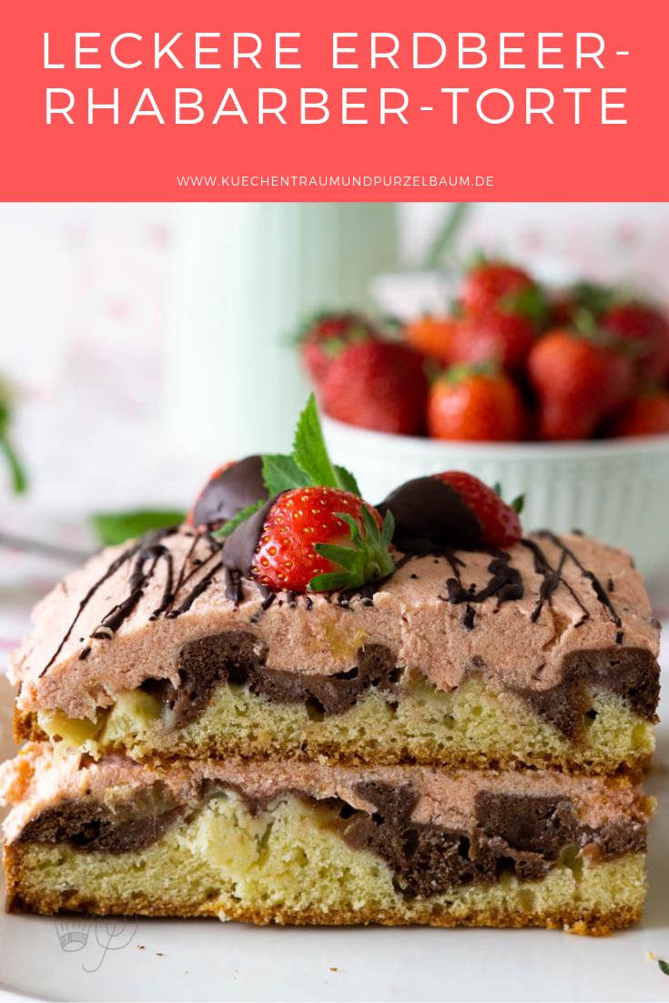 Erdbeer Rhabarber Torte Rezept Erdbeer Rhabarber Himbeer Kuchen Und Erdbeer Buttercreme