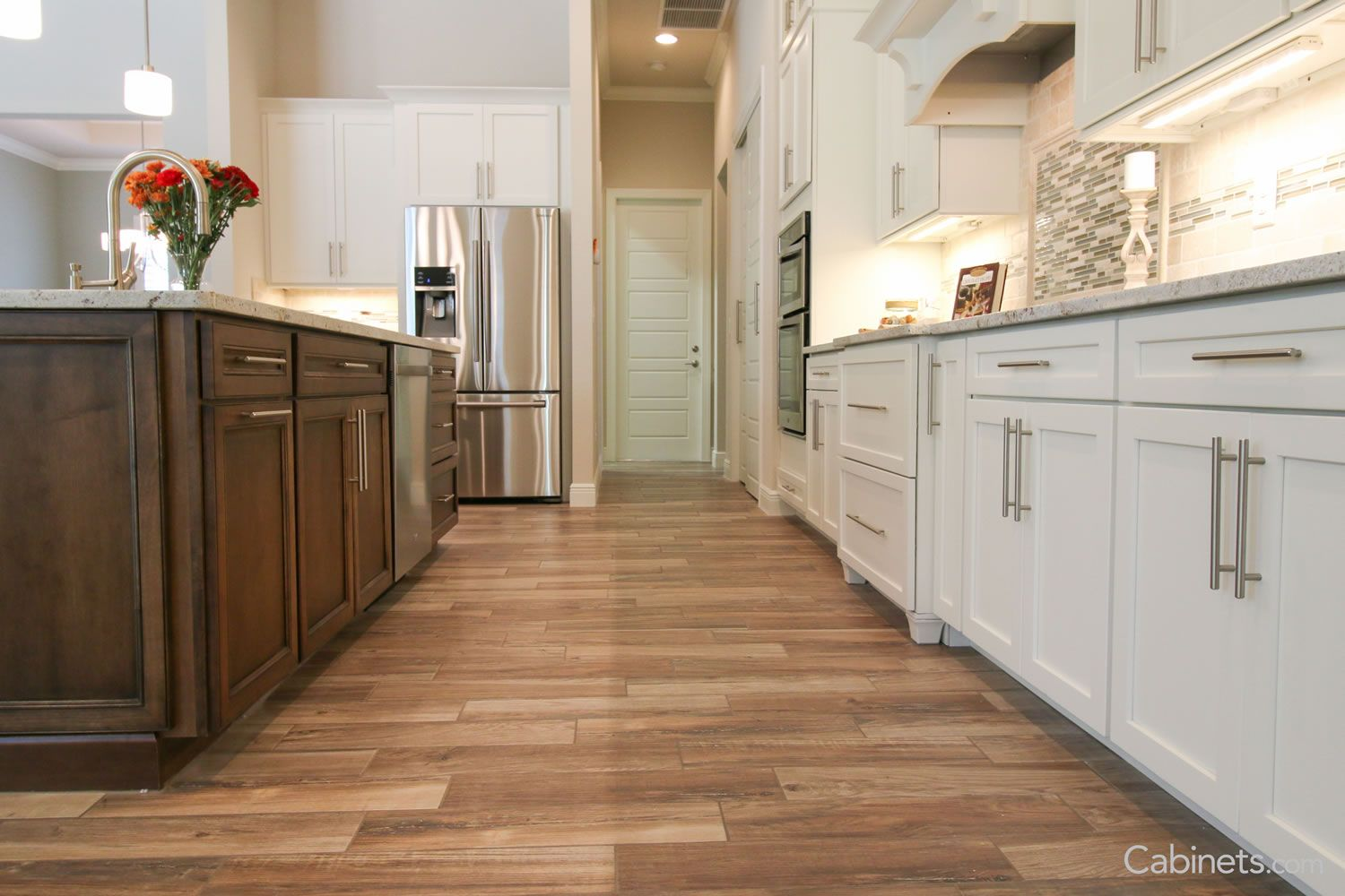 Love the combo of dark wood & white cabinets, with the ...