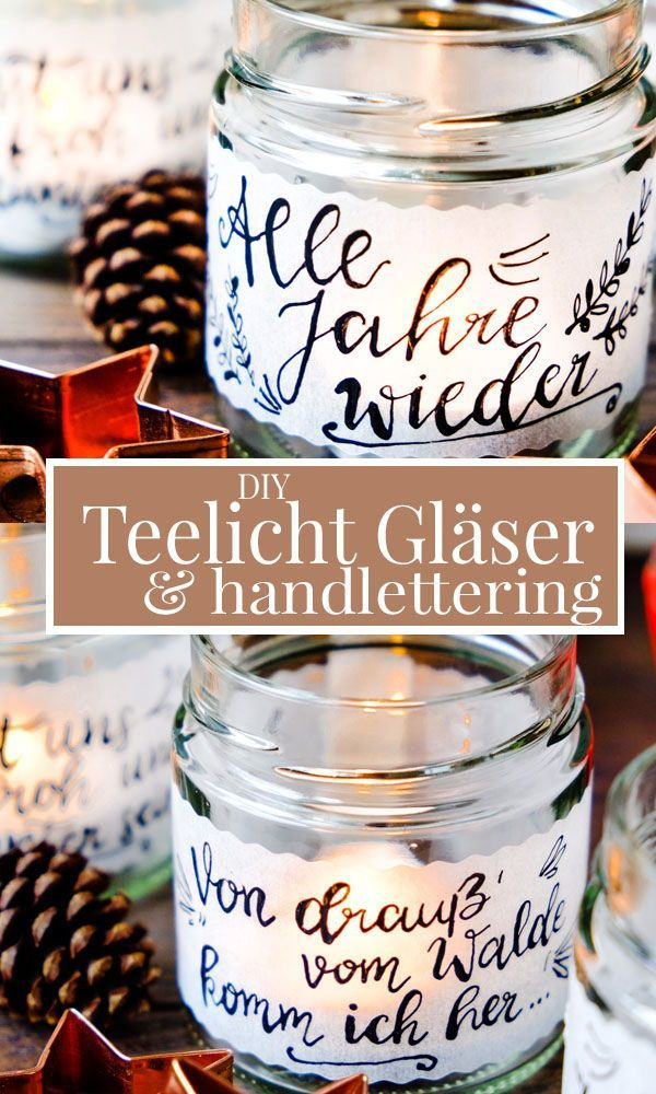 DIY tea light glasses | Tealight holder, tracing paper & calligraphy.